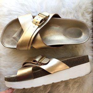 •Aldo• Metallic Double Strap Sandal